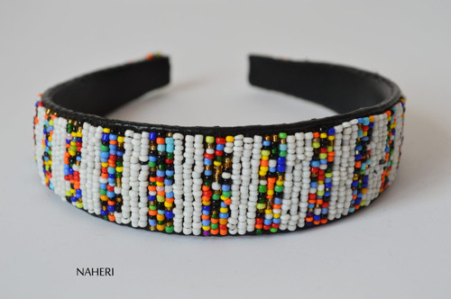 African inspired beaded hairband white