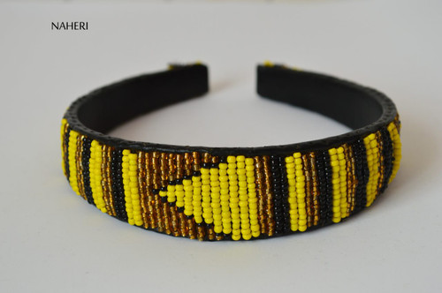 African inspired beaded hairband yellow