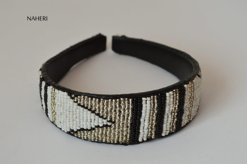 African inspired beaded hairband white silver