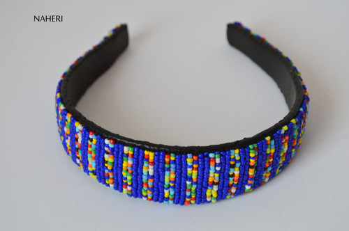 African inspired beaded hairband blue
