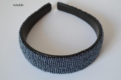 African inspired beaded hairband hematite