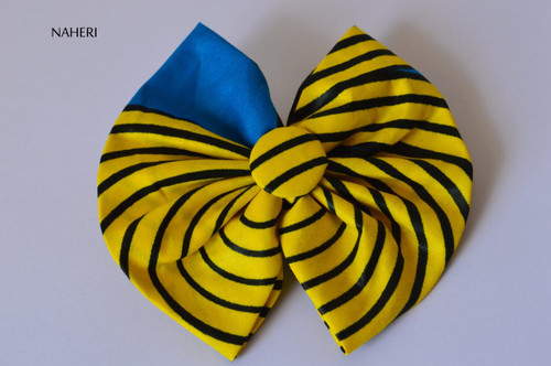 African inspired bow tie hair clip yellow