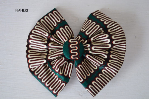 African print bow tie hair clip dark green