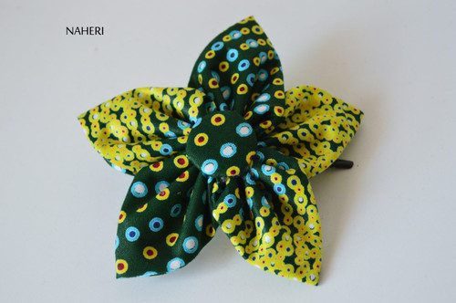 Star shaped African fabric hair clip green