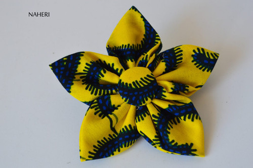 Star shaped African fabric hair clip yellow