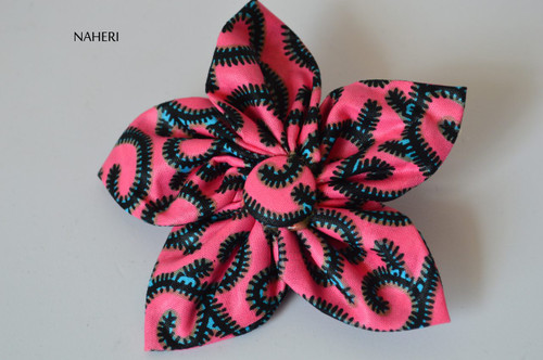 Star shaped African fabric hair clip pink