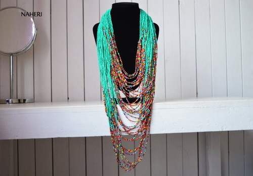 Turquoise and mix African Beaded Maasai Necklace