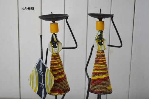 Beads and metal African candle holders