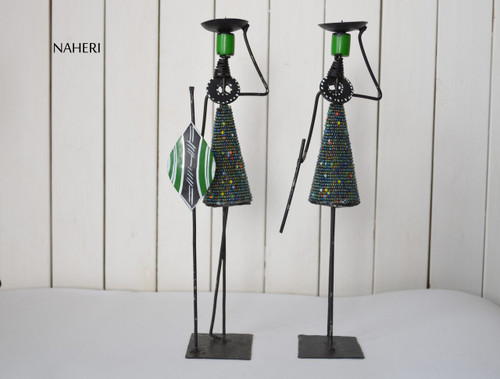 Beads and metal African candle holders green
