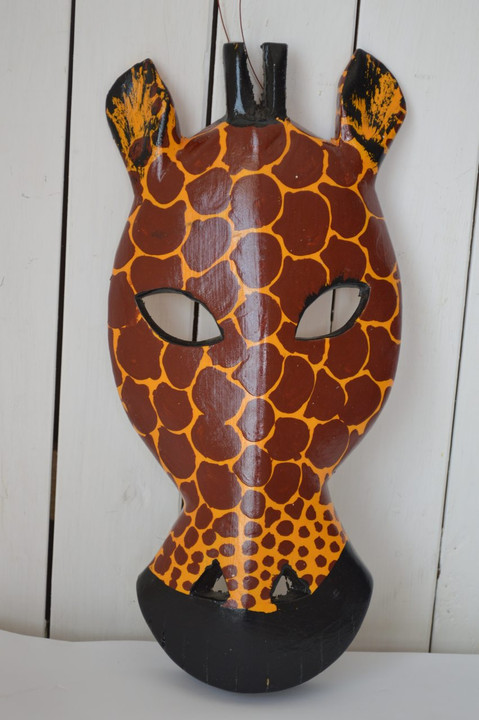 African inspired wall hanging mask giraffe