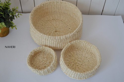 Handmade African sisal storage baskets natural