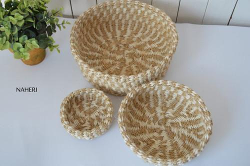 Handmade African sisal storage baskets beige