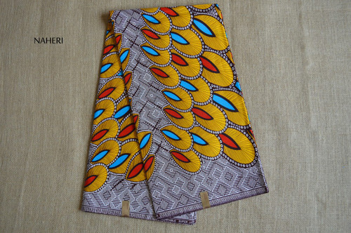 African print fabric yellow feathers 5 yards