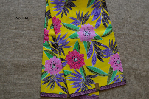African print fabric yellow floral 5 yards