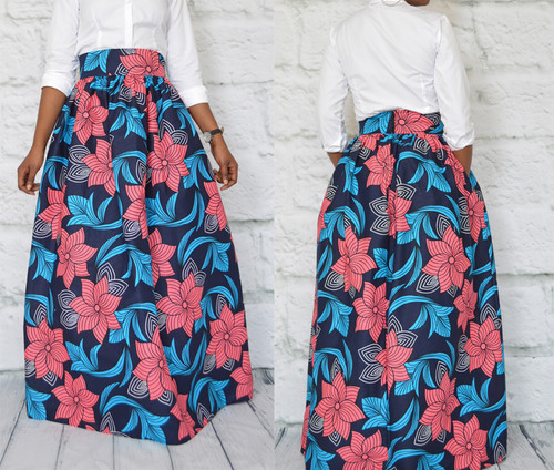 African print maxi skirt pink and blue floral