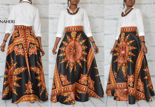African print dashiki maxi skirt black clothing