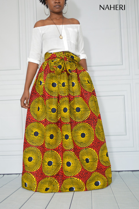 African print maxi skirt record print red ankara fashion