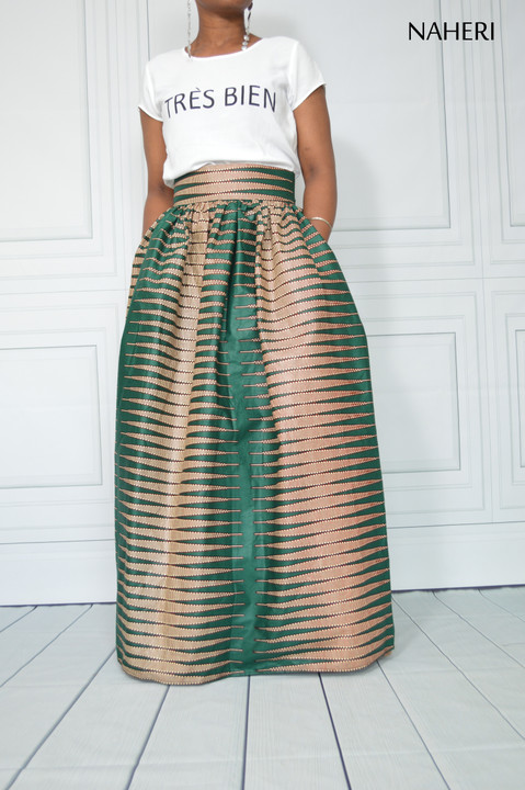 African print maxi skirt dark green pencil tribal long skirt