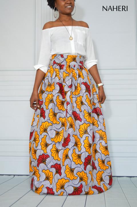 African print maxi skirt floral print ankara fashion summer skirt