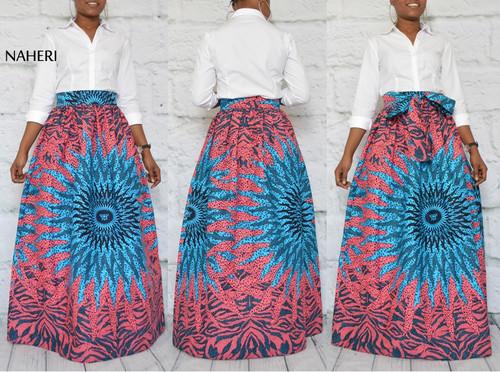 African print maxi skirt starburst clothing
