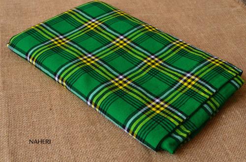 Plaid African maasai shuka green and yellow