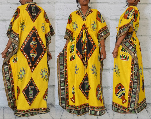 African inspired caftan bold yellow
