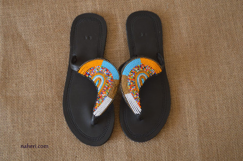 Maasai beaded handmade leather sandals - ADI