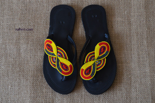 Maasai beaded handmade leather sandals - AMI