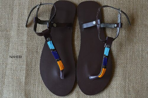 Maasai beaded handmade leather sandals - NAWI