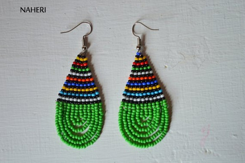 African earrings beaded green