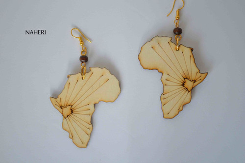 African map wood earrings handmade