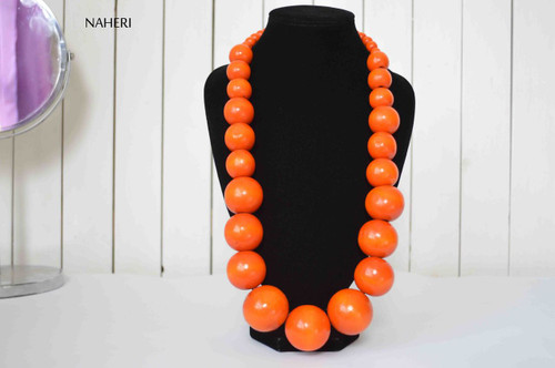 African inspired necklace wooden beads handmade