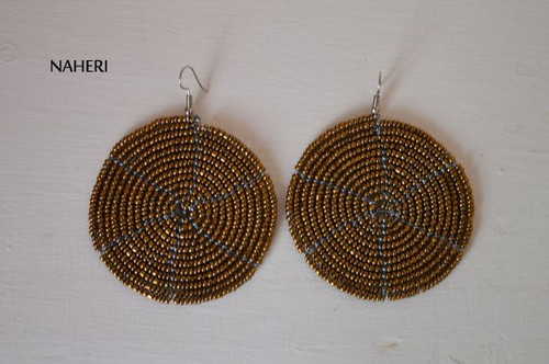 African beaded round earrings handmade and tribal