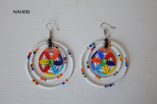 African earrings beaded white zulu jewelry