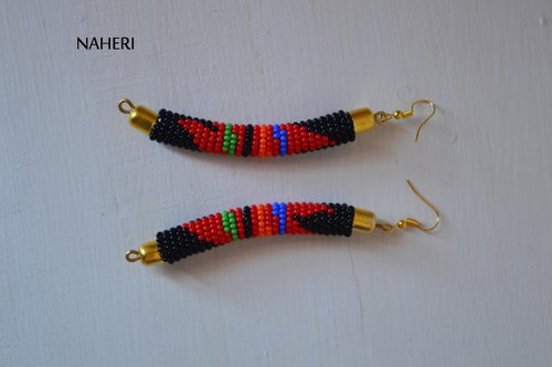 African earrings handmade zulu black