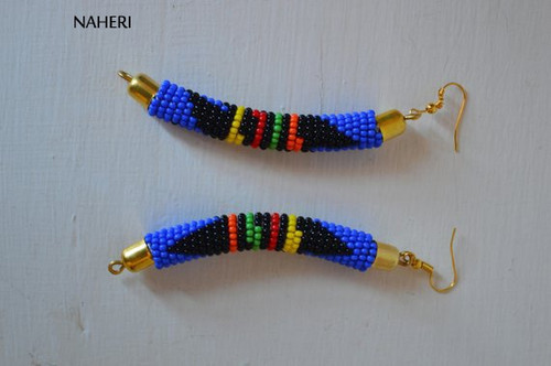 African earrings handmade zulu bush blue fashion jewelry