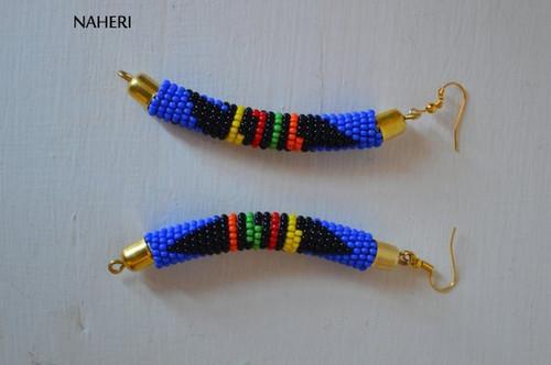 African earrings handmade zulu bush blue fashion jewelry