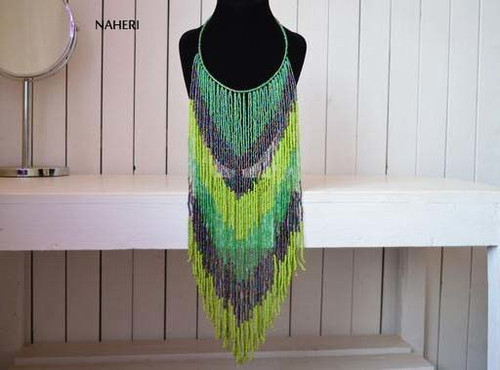 African beaded fringe necklace green romantic jewelry