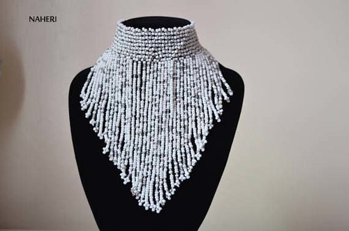 African inspired white fringe necklace short