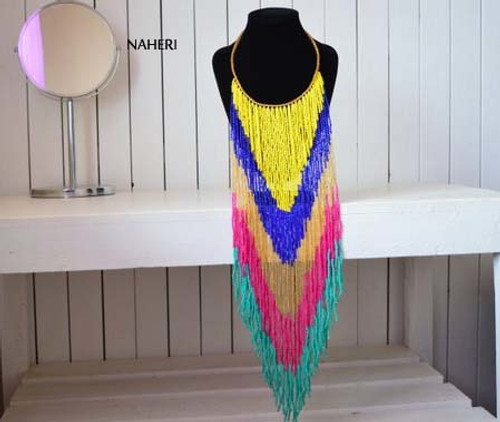 African beaded handmade long fringe necklace