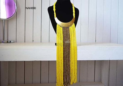 African handmade fringe necklace yellow with copper