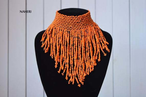 African choker necklace orange tribal fringe jewelry