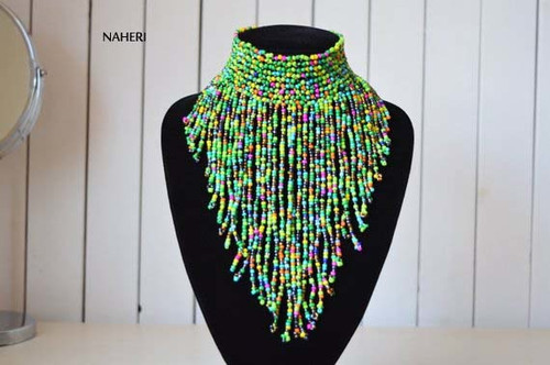 African choker necklace mixed color tribal fringe