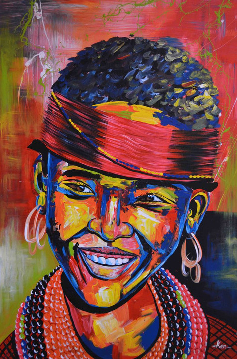 "African inspired oil painting maasai girl 24"" W x 36"""