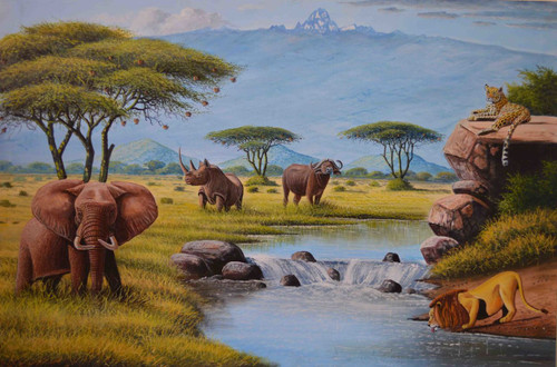 "The big five African animal oil painting lion leopard buffalo rhino elephant 36"" W x 24"" H"