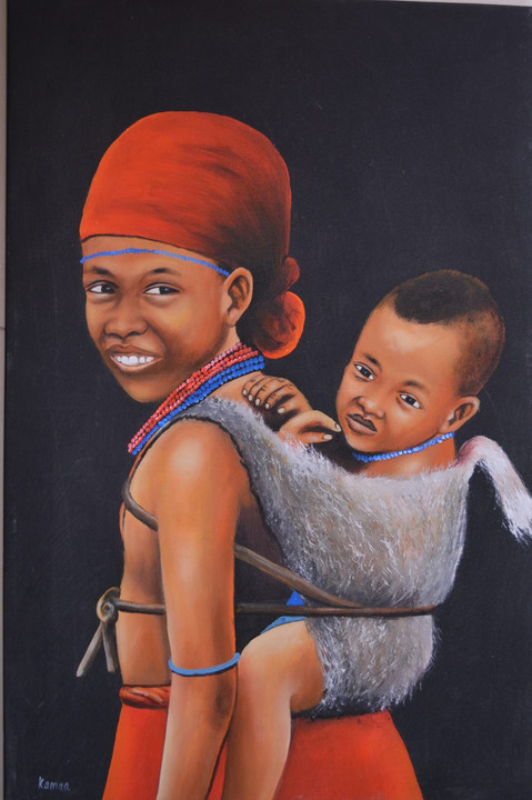 African inspired oil painting sister love mother love