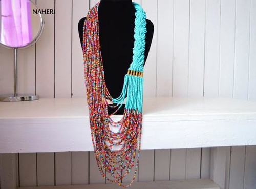 African inspired beaded necklace turquoise