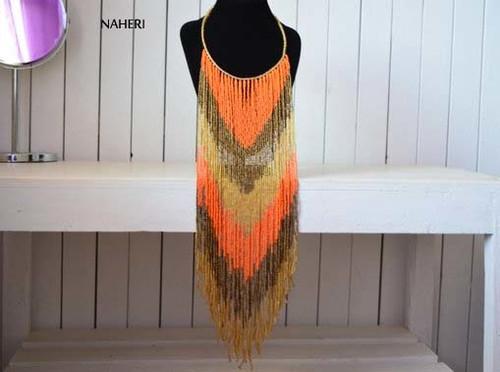 African inspired fringe necklace long orange