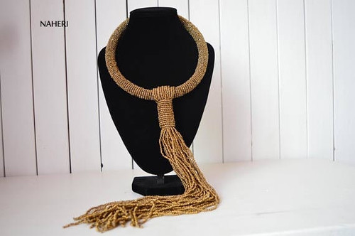 African inspired copper tie necklace beaded jewelry