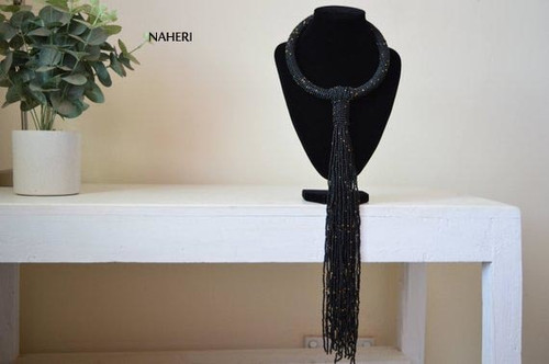 African inspired black tie necklace beaded jewelry